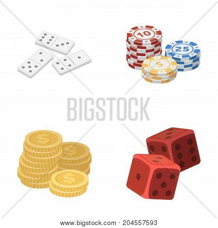 Domino bones, stack of chips, a pile of mont, playing blocks. Casino and gambling set collection icons in cartoon style vector symbol stock illustration .