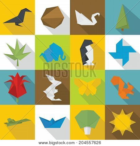 Origami icons set. Flat illustration of 16 origami vector icons for web