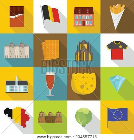 Belgium travel icons set. Flat illustration of 16 Belgium travel vector icons for web