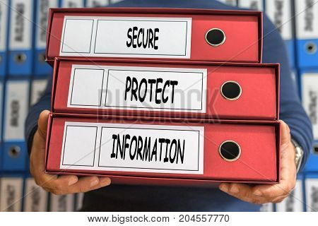 Secure, Protect, Information Concept Words. Folder Concept. Ring Binders.