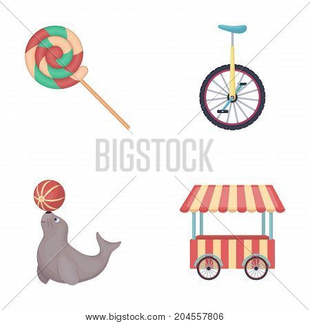 Lollipop, trained seal, snack on wheels, monocycle.Circus set collection icons in cartoon style vector symbol stock illustration .