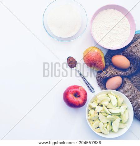 Baking Ingredients For Making Apple Cake.