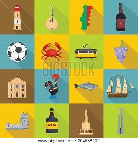 Portugal travel icons set. Flat illustration of 16 Portugal travel vector icons for web