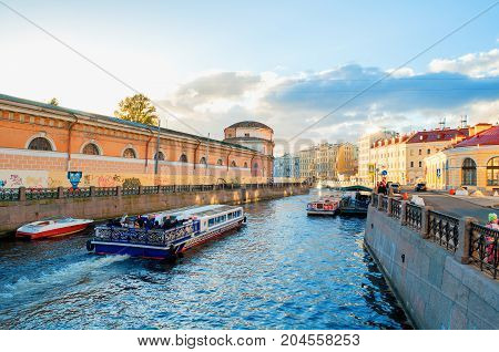 ST PETERSBURG RUSSIA-OCTOBER 3 2016. Embankment of Moika river and historic buldings in St Petersburg Russia. St Petersburg Russia city landscape