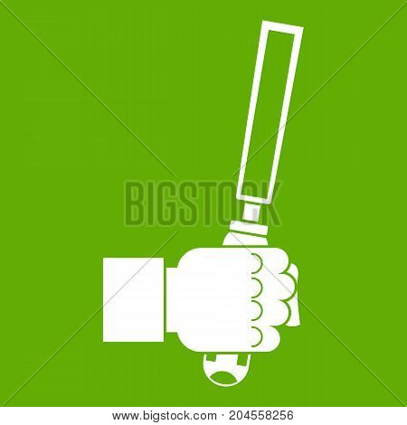 Chisel tool in man hend icon white isolated on green background. Vector illustration