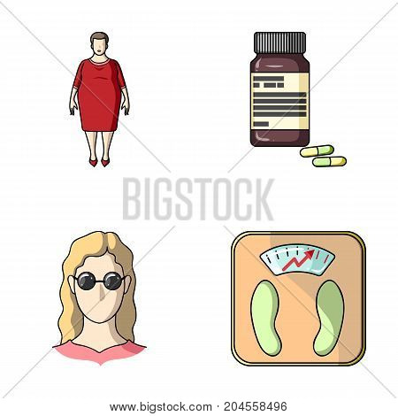 Full woman, a girl with glasses, a scales with exquisite result. Diabeth set collection icons in cartoon style vector symbol stock illustration .