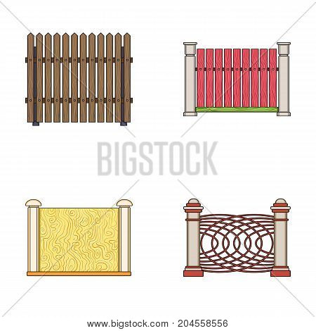 A fence of metal and bricks, wooden palisade. A different fence set collection icons in cartoon style vector symbol stock illustration .