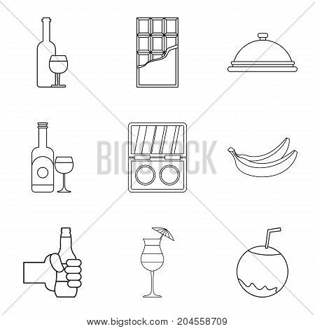 Drinking evening icons set. Outline set of 9 drinking evening vector icons for web isolated on white background