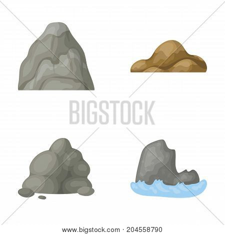 Boulders, a rounded mountain, rocks in the sea. Different mountains set collection icons in cartoon style vector symbol stock illustration .