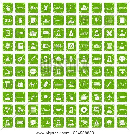 100 initiation icons set in grunge style green color isolated on white background vector illustration