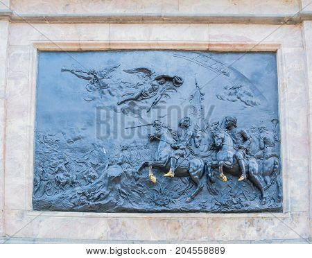 SAINT PETERSBURG RUSSIA-OCTOBER 3 2016. Bronze bas-relief The Battle of Poltava at the bronze equestrian monument to Peter I in Saint Petersburg Russia
