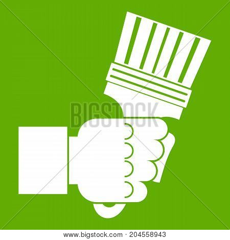 Hand holding pliers with handles icon white isolated on green background. Vector illustration