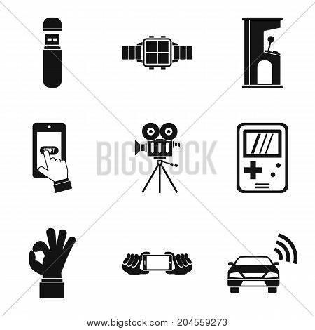 Music player icons set. Simple set of 9 music player vector icons for web isolated on white background