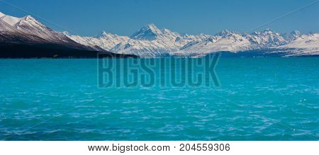 Blue Pukaki Lake with Mt. Cook in background, New Zealand