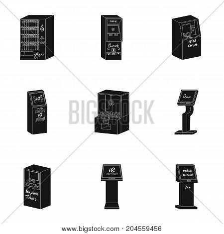 ATM, coffee machine, information apparatus and other types of terminals. Terminals set collection icons in black style isometric vector symbol stock illustration .
