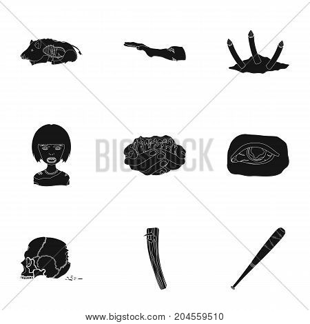 Zombie, dead, rotten, and other  icon in black style.Hand, flesh, Apocalypse, icons in set collection.