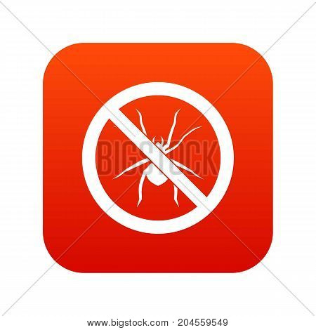 No spider sign icon digital red for any design isolated on white vector illustration