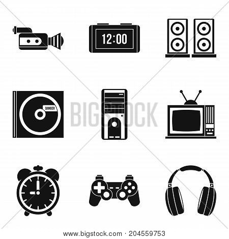 Soundtrack icons set. Simple set of 9 soundtrack vector icons for web isolated on white background