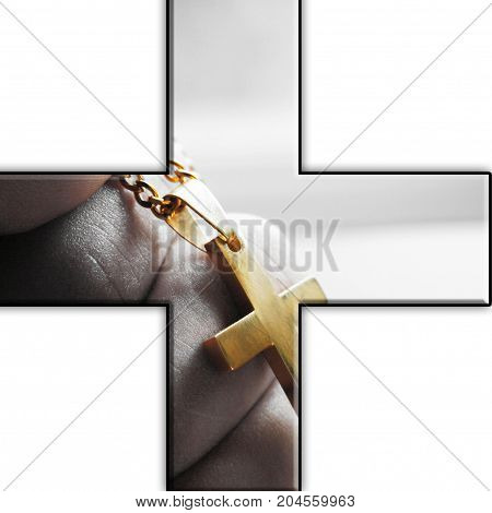 Religious Cross Icon With Cross In Hand