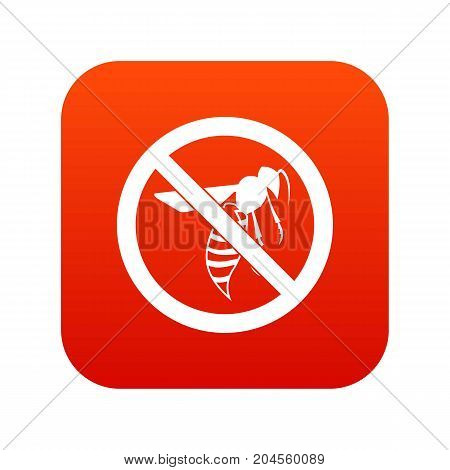 No wasp sign icon digital red for any design isolated on white vector illustration
