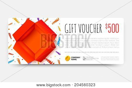 Gift voucher template with open red box and colorful scattered confetti. Gift certificate coupon design. Premium Voucher card for gift shop. Vector illustration