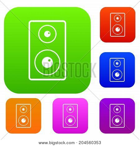 Subwoofer set icon color in flat style isolated on white. Collection sings vector illustration
