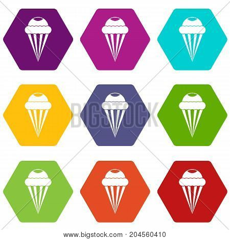 Ice Cream icon set many color hexahedron isolated on white vector illustration