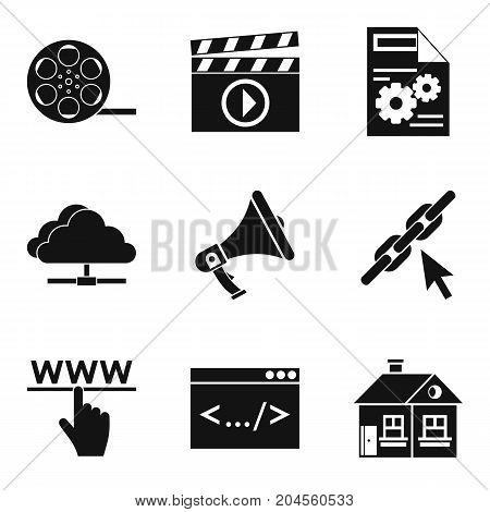 Cloud service icons set. Simple set of 9 cloud service vector icons for web isolated on white background