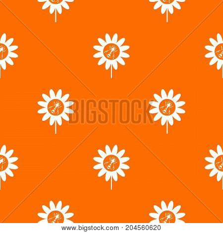 Bee on flower pattern repeat seamless in orange color for any design. Vector geometric illustration