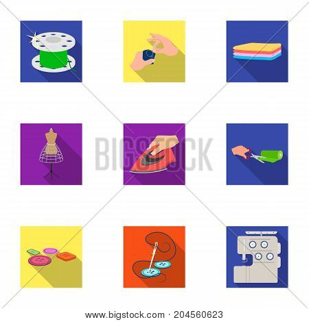 coil with thread, sewing machine, fabric and other equipment. Sewing and equipment set collection icons in flat style vector symbol stock illustration .