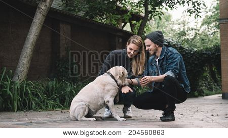 A beatiful young couple is squatting near the big golden labrador at their backyard. The dog is licking the girl's hand and she likes it. The guy is happy to be present at that moment and think that his girlfriend and pet liked each other.