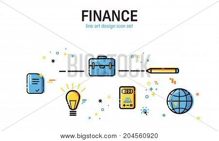Line art flat Style. Set of application development, business and information. Vector icons and elements collection. Finance Concept.