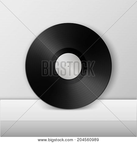Realistic empty music gramophone vinyl LP record icon closeup on white table or stand. Design template of retro long play for advertising, branding, mockup. Stock vector. EPS10 illustration.