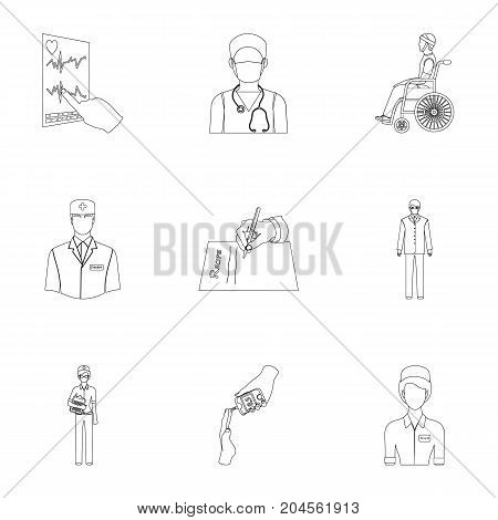 Injured in a stroller, blood transfusion, blood sugar test, doctor, medical staff. Medicine set collection icons in outline style vector symbol stock illustration .