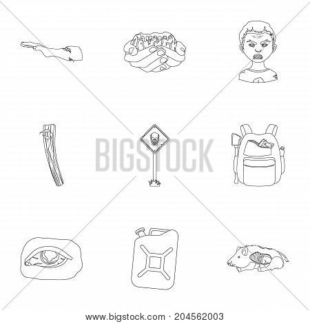 Zombie, dead, rotten, and other  icon in outline style.Hand, flesh, Apocalypse, icons in set collection.