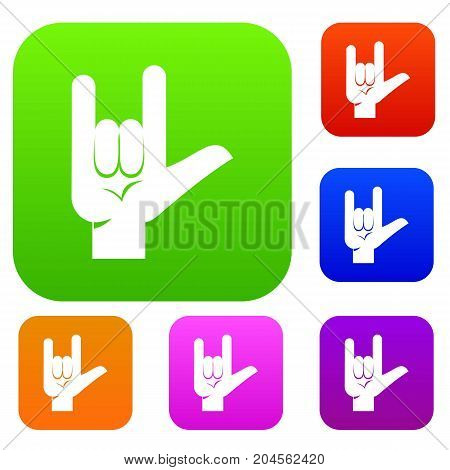 Rock gesture set icon color in flat style isolated on white. Collection sings vector illustration