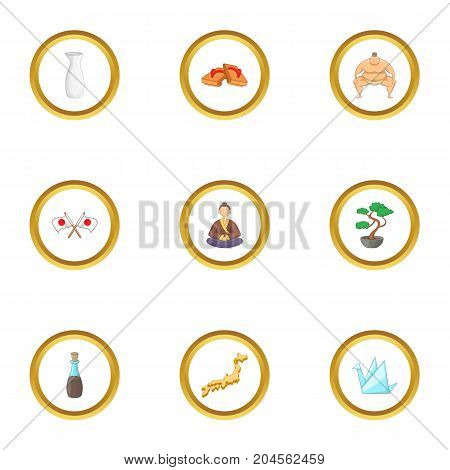 Tokio icons set. cartoon style set of 9 tokio vector icons for web design