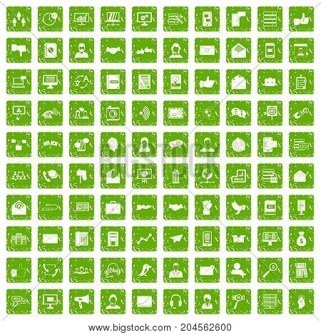 100 interaction icons set in grunge style green color isolated on white background vector illustration