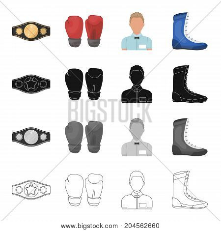 Champion belt, gloves for boxing, referee in the ring, sneakers. Boxing set collection icons in cartoon black monochrome outline style vector symbol stock illustration .