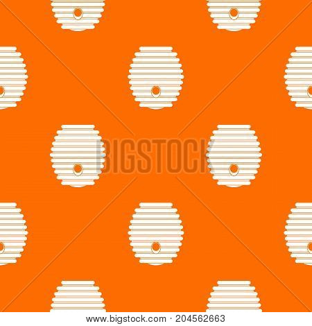 Beehive pattern repeat seamless in orange color for any design. Vector geometric illustration