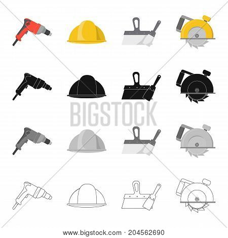 Electric drill, construction helmet, spatula for repair, manual circular. Construction and repair set collection icons in cartoon black monochrome outline style vector symbol stock illustration .