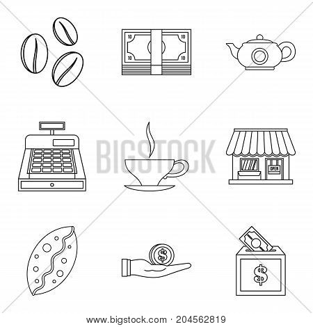Coffee shop icon set. Outline set of 9 coffee shop vector icons for web design isolated on white background
