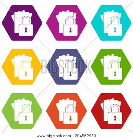 Folders with padlock icon set many color hexahedron isolated on white vector illustration