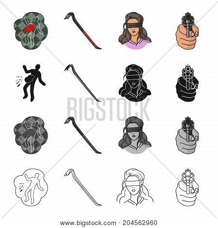 Crime scene, scrap, picklock, girl hostage, directed gun in hand. Crime set collection icons in cartoon black monochrome outline style vector symbol stock illustration .