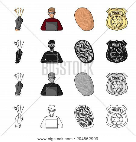 Lock picks in hand, criminal hacker, fingerprint, police badge. Crime set collection icons in cartoon black monochrome outline style vector symbol stock illustration .