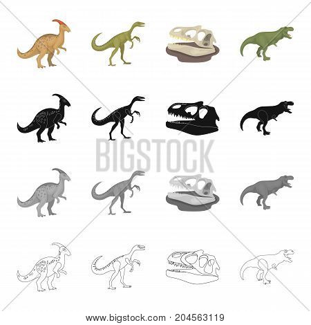 Dinosaur Gallimimus, parasaurolophus, tyrannosaurus, skull. Dinosaurs and prehistoric set collection icons in cartoon black monochrome outline style vector symbol stock illustration .