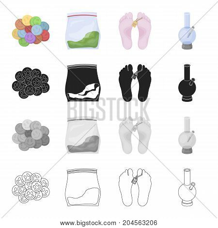 Ecstasy pills, a drug in the package, legs with a tag, a smoking device, a bong. Drugs set collection icons in cartoon black monochrome outline style vector symbol stock illustration .