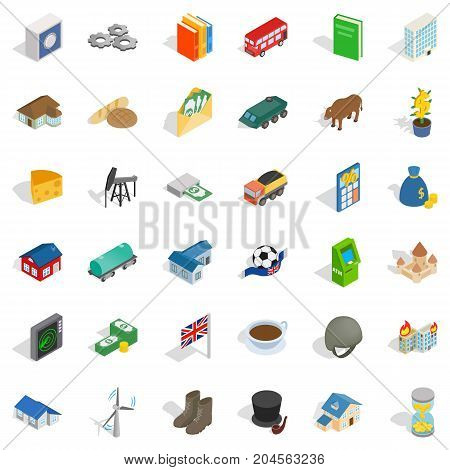 Rich icons set. Isometric style of 36 rich vector icons for web isolated on white background