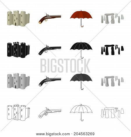 Castle Tower, antique pistol, umbrella, English Stone Hend.England set collection icons in cartoon black monochrome outline style vector symbol stock illustration .