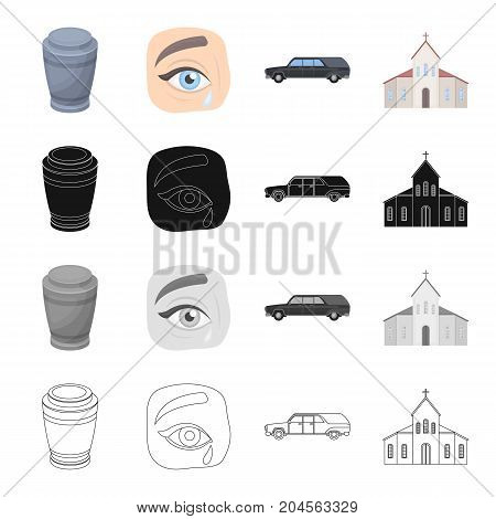An urn with ashes, tears at a funeral, a ceremonial hearse, a church. Funeral ceremony set collection icons in cartoon black monochrome outline style vector symbol stock illustration .